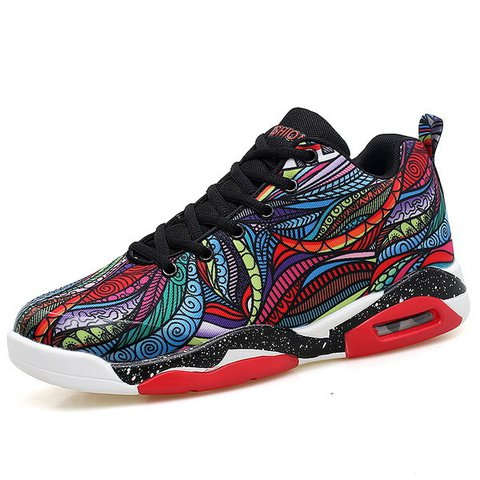 Large Size Men Printed Air Cushion Sport Running Sneakers
