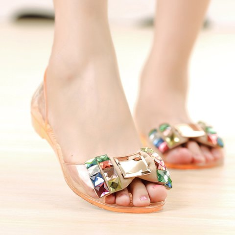 Slip On Flat Heel Bowknot Plastic Beach Sandals