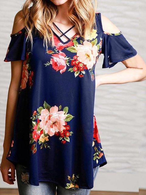 Floral-print Cold Shoulder V neck T-Shirt