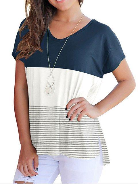 Sleeve Cotton Stripes Shirt T Short rOxYEg0qOw