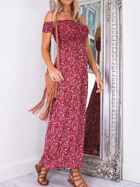 One Shoulder  Women Sleeveless Slit Floral Floral Dress