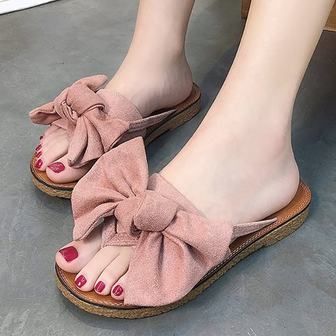 Casual Bowknot Toe Post Flat Sandals