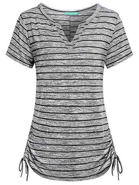 Short Sleeve Stripes V neck T-Shirt