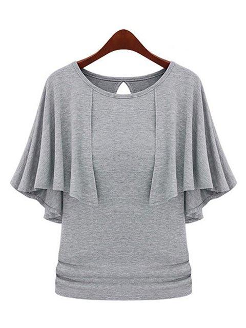 Woven Crew Neck Frill Sleeve T-Shirt