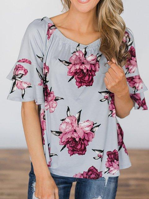 shirts Floral Shoulder Blue Off print xqava4f
