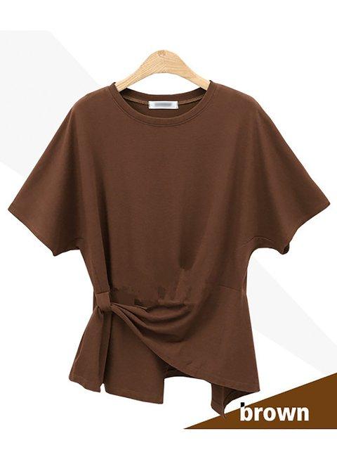 Crew Neck Short Sleeve Asymmetric Solid T-Shirt