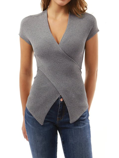 Short Sleeve V neck Slit Knitted T-Shirt