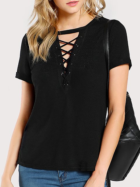 Black Short Sleeve V neck Cotton T-Shirt