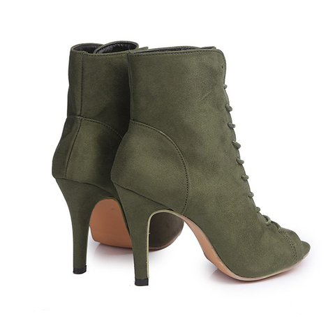 67d93cf48edc Flocking High Heel Lace Up Pump Heel Boots - JustFashionNow.com