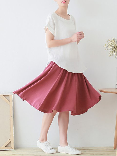 Solid Sleeve Cotton T Short Crew Linen Shirt Neck E5qxUAwf