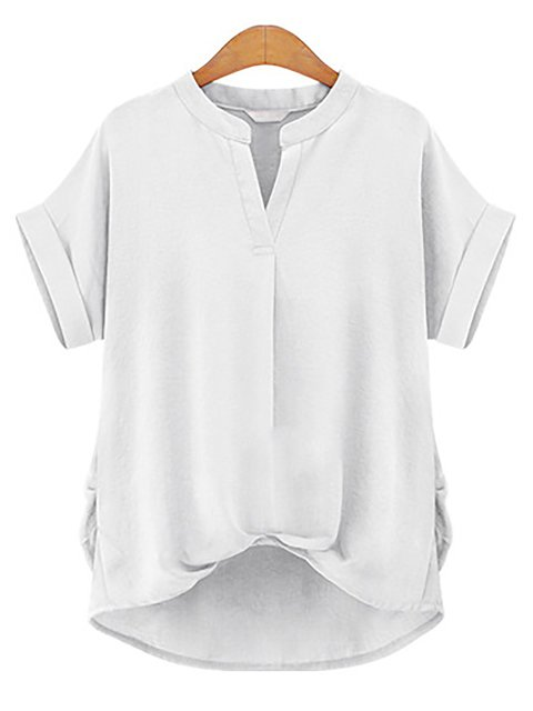 Shirts Stand Short up Sleeve Solid Paneled Neck qxYwx71a