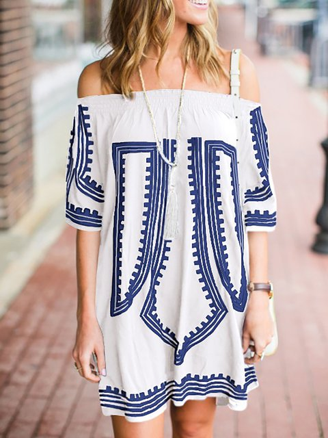A-line Women Beach Casual Half Sleeve Abstract Summer Dress
