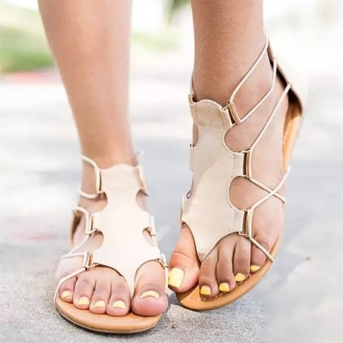 Daily Fashion Casual Zipper PU Sandals
