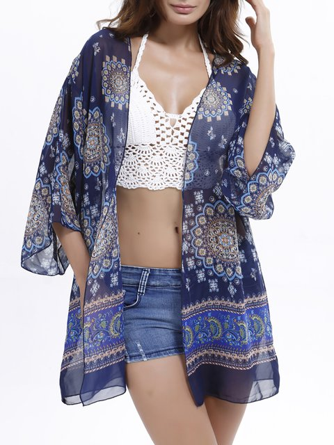 3/4 Sleeve Tribal V neck Outerwear