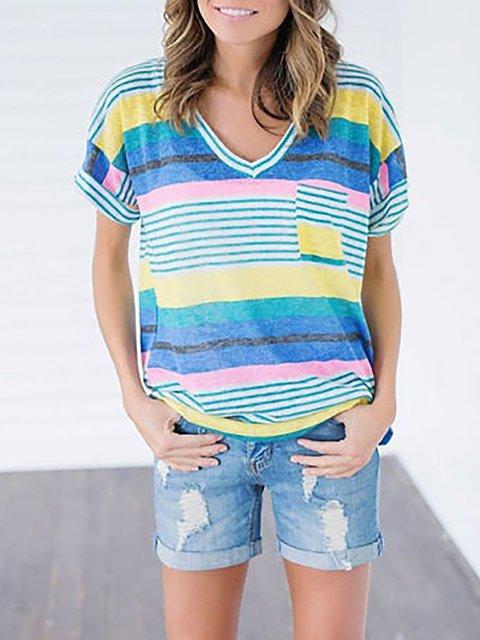 Stripes Short Sleeve V neck T-Shirt