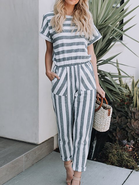 Stripes Short Sleeve Pockets Jumpsuit