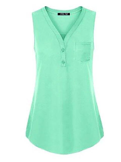 Pockets T V Sleeveless Solid neck Shirt 7xFwq105g0