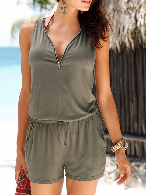 Sleeveless Zipper V neck Rompers