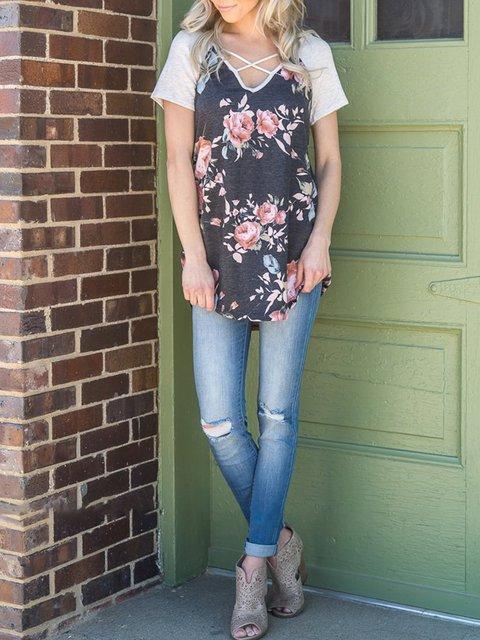 Gray Floral-print Floral Short Sleeve V neck T-Shirt