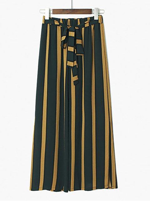 Women Pants Bow Stripes High-rise