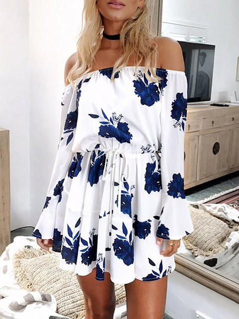 Women's Slash Neck Off Shoulder Print Romper