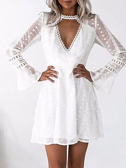V neck White A-line Women Daily Frill Sleeve Statement Lace Paneled Summer Dress