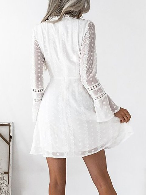 a8264103805e V neck White A-line Women Daily Frill Sleeve Statement Lace Paneled Summer  Dress