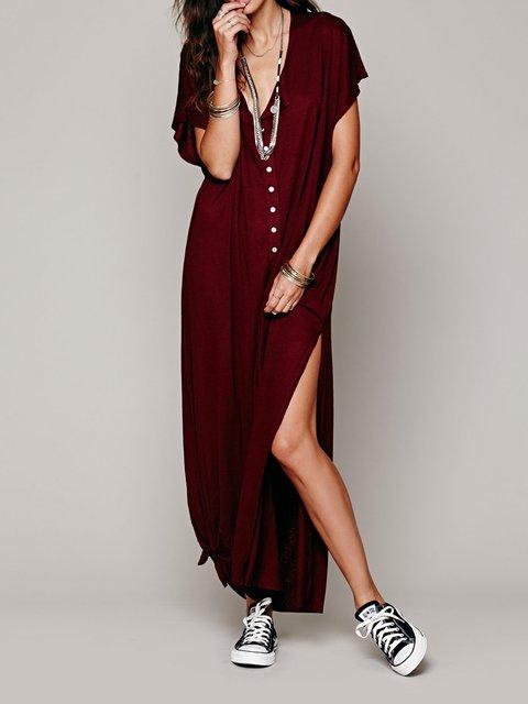 Women Daily Short Sleeve Statement Paneled Solid Summer Dress