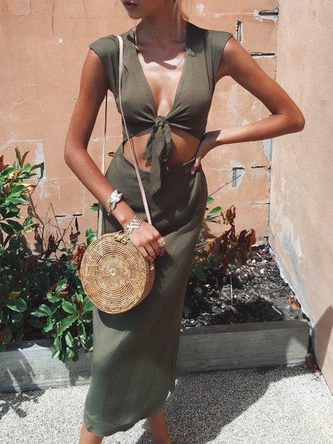 V neck  Sheath Women Daily Short Sleeve Cutout Solid Summer Dress