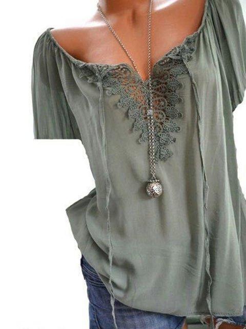 Women Solid Shirt blend neck Short V Sleeve T Cotton TTgqHR