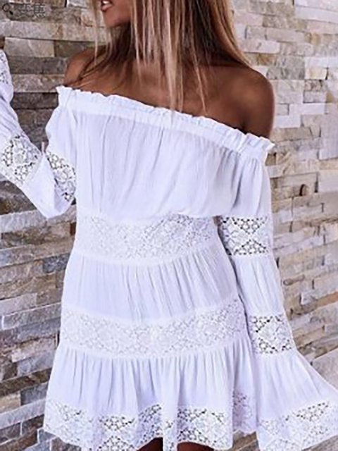 White A-line Women Daily Frill Sleeve Paneled Solid Summer Dress
