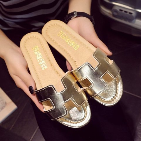 Women Pu Slippers Casual Peep Toe Beach Shoes