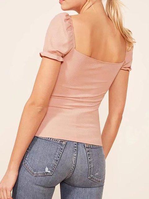 Women neck Bow T Sleeve Short Shirt Square xP1w6q