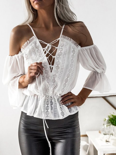 Women Shirts White Cold Shoulder V neck Guipured