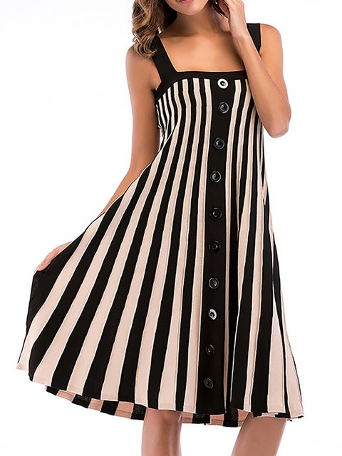 Spaghetti Black-white Swing Women Daily Spaghetti Summer Dress