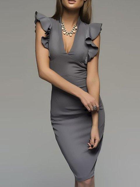 V neck  Bodycon Women Frill Sleeve Basic Paneled Solid Prom Dress