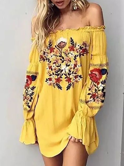 Off Shoulder  A-line Women Daily Cotton Frill Sleeve Paneled Floral Floral Dress