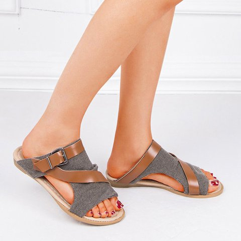 Plus Size Adjustable Buckle Slide Sandals
