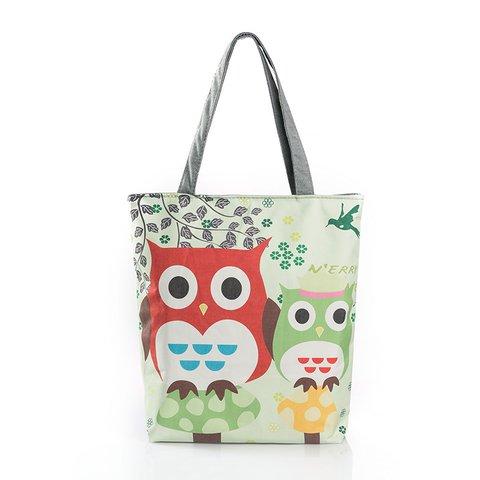 Owl Printed Casual Zipper Shoulder Bags