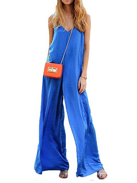 Women Jumpsuit Royal blue Casual V neck Spaghetti