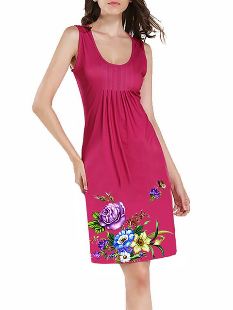 A-line Women Daily Sleeveless Basic Floral Floral Dress