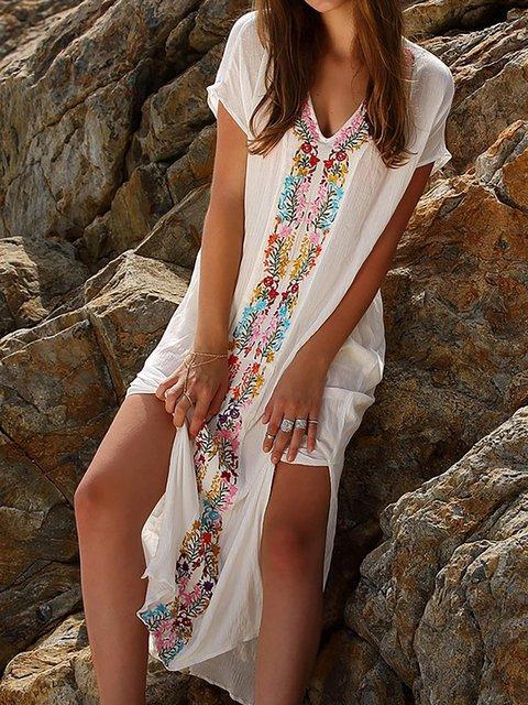 White Shift Women Basic Short Sleeve Embroidered Floral Floral Dress