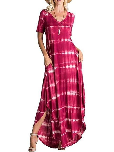 Swing Women Daily Short Sleeve Statement Striped Summer Dress