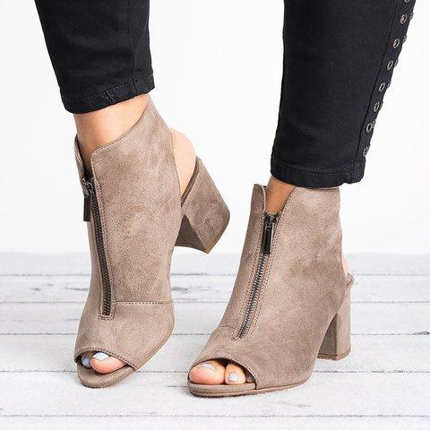 Women Suede Pumps Sandals Casual Zipper Shoes