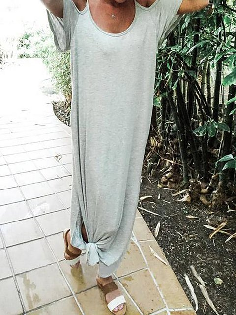 Cold A Shoulder Dress line Plain Daily Women Summer Basic wtqartC