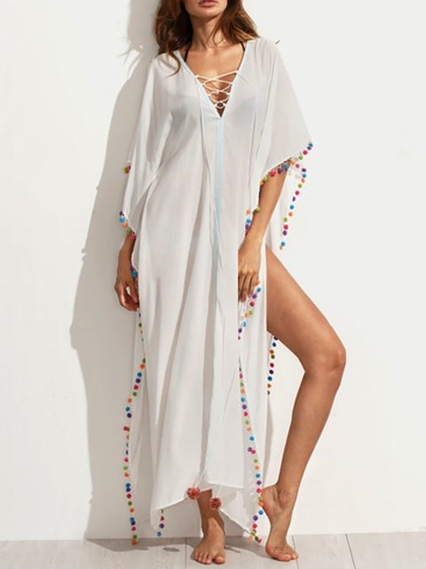 V neck   Women Daily Boho Half Sleeve Paneled Plain Summer Dress