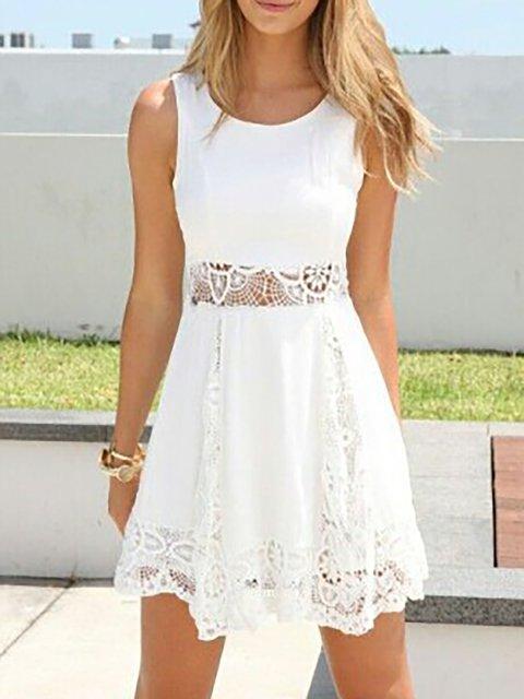 V neck White Swing Women Daily Chiffon Sleeveless Paneled Plain Summer Dress