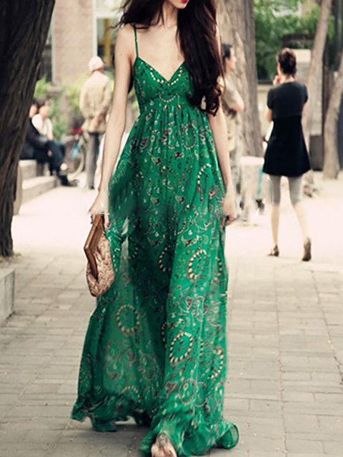 V neck Green Swing Women Daily Spaghetti Floral Dress