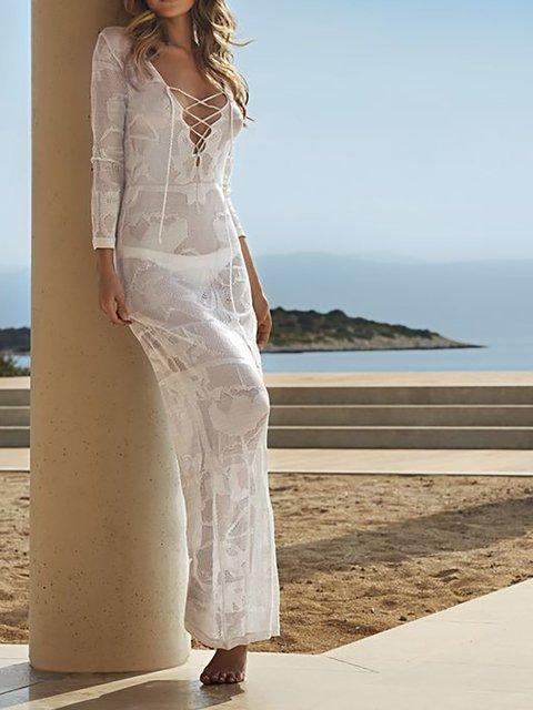 Sheath Women Daily Long Sleeve Basic Plain Summer Dress