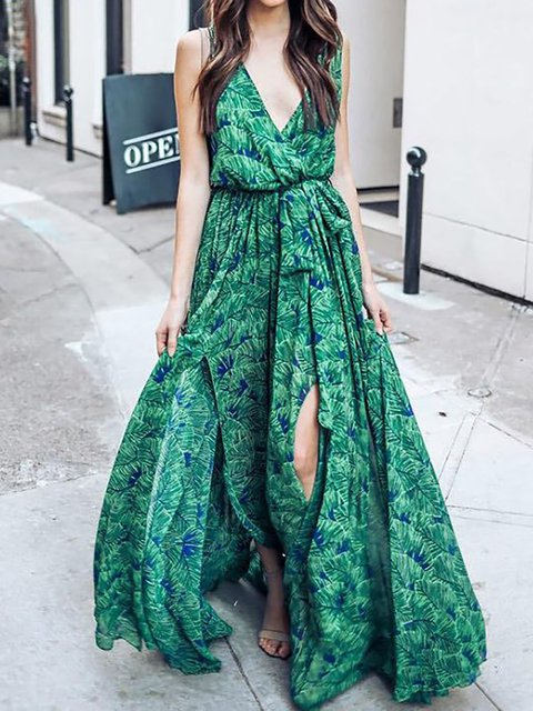 Green Swing Women Daily Basic Chiffon Slit Floral Elegant Dress